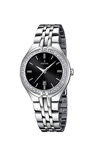 Festina Women's Quartz Watch with Black Dial Analogue Display and Silver Stainless Steel Bracelet F16867/2