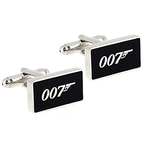 Ss 007 James Bond Black & Silver Metal Cufflinks for Men  available at amazon for Rs.699