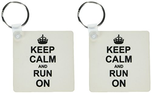 3drose Keep Calm and RUN ON-Carry On Running-Track Runner Leichtathlet Geschenke-Fun Humor-Schlüssel Ketten, 5,7x 5,7cm, Set 2Stück (KC 157767_ 1) -