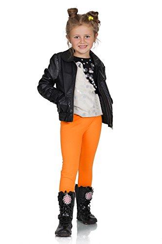 FUTURO FASHION® - Mädchen Leggings aus Baumwolle - warm & dick - lang - einfarbig - 2-13 Jahre - Orange - 9 Jahre