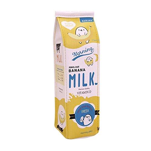 FORH Federmäppchen Netter Bleistift Kasten tteletui in Milchkarton-Design Kinderneuheits kreative Milch Bleistift Tasche Mäppchen Stiftemappe (Gelb)