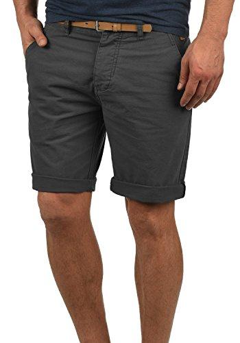 Redefined Rebel Mumbai Herren Chino Shorts Bermuda Kurze Hose Mit Gürtel Aus 100% Baumwolle Regular Fit, Größe:L, Farbe:Forged Iron