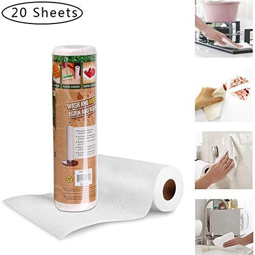 flower205 Bambus Küchenrolle Waschbare Bambustücher Saugstarke und Reißfeste Haushaltstücher küchenrolle Wiederverwendbar schnelltrocknend Bambus Papierhandtuch 1 Rolle / 20 Stück
