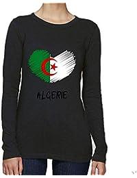 688292bde85 T-Shirt Premium - Manche Longue - Col Rond - Coeur Crayon Algerie - Femme