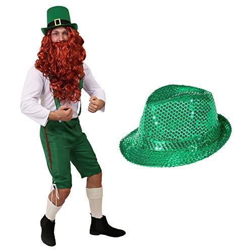 ILOVEFANCYDRESS Zwerge Leprechaun Irland ST PARICKS Day KOSTÜM VERKLEIDUNG=GRÜNE 3/4 Latzhose+WEISSES Oberteil+ROTE PERÜCKE+BART+GRÜNER Pailetten Hut = Kobold ()