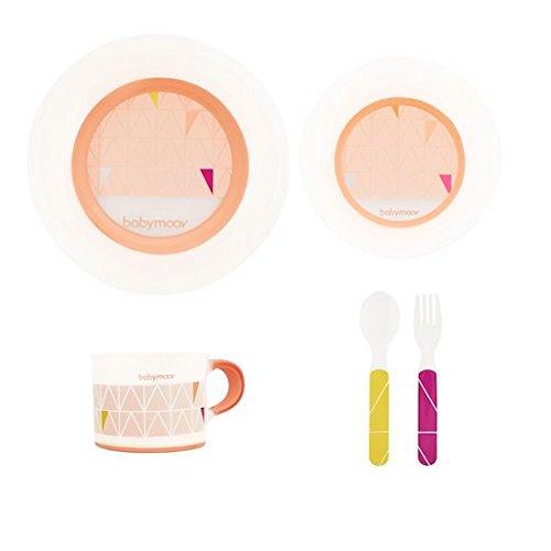 Babymoov A005509 Geschirr-Set apricot, rutschfest, mikrowellen/spülmaschinengeeignet, inklusive Teller, Schale, Tasse, orange - Mikrowelle Orange