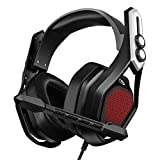 Mpow Iron Gaming Headset [Flagship Model], Immersive 7.1 Surround Sound with Large Chamber Drivers, Soft Protein EARPAD, Noise Cancelling Mic, Gaming Headset with RGB Light for PC/PS4/Xbox One/Switch