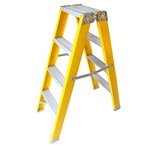 Escalera plegable taburete banqueta Escalera de fibra de vidrio de 4 escalones, escalera de mano plegable...