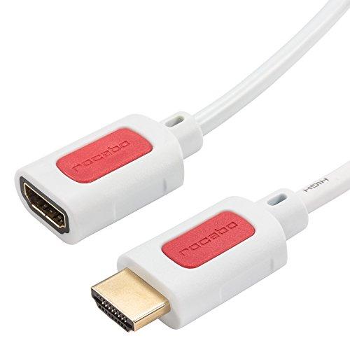 rocabo 1289 HDMI Verlängerung Kabel High Speed mit Ethernet, 4k ULTRA-HD kompatibel (2160p/1080p FULL-HD - 3D/ARC/CEC) für TV, DVD, Beamer, Blu-Ray, Spielekonsolen, vergoldete Kontakte, 1,50m, weiß