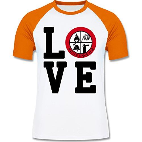 Feuerwehr - LOVE Feuerwehr - zweifarbiges Baseballshirt für Männer Weiß/Orange
