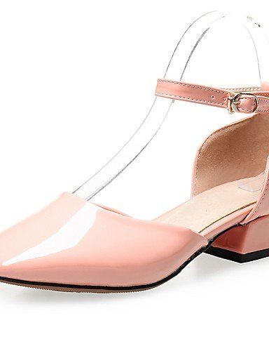 WSS 2016 Chaussures Femme-Habillé / Décontracté-Noir / Rose / Rouge-Gros Talon-Talons / Bout Carré / Bride de Cheville-Talons-Similicuir pink-us6 / eu36 / uk4 / cn36