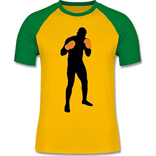Kampfsport - Boxer Grundstellung - zweifarbiges Baseballshirt für Männer Gelb/Grün