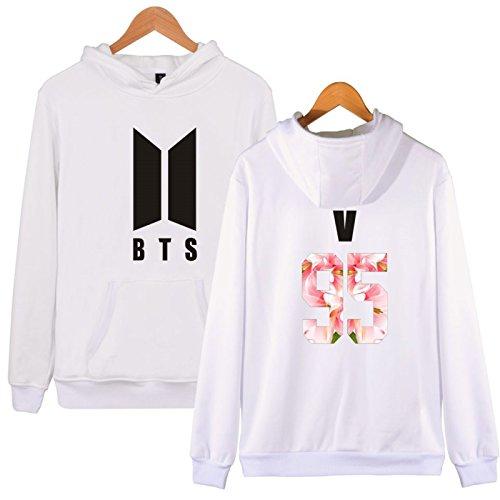 SIMYJOY Lovers KPOP Fans Felpa con cappuccio BTS Pullover Hip Hop Felpa per Uomo Donna Adolescente bianca-95v