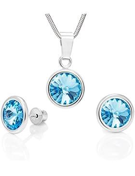 LillyMarie Damen Silber-Schmuckset echt Silber Ohrringe und Anhänger original Swarovski Elements hell-blau längen-verstellbar...