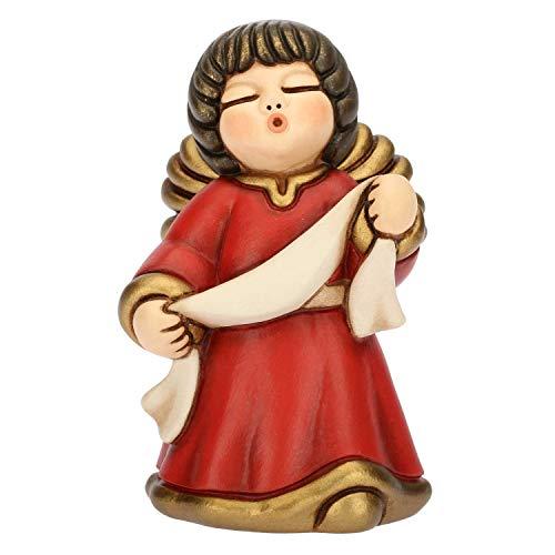 Thun® - angelo dell'annunciazione con targhetta personalizzabile - veste rossa - statuine presepe classico - ceramica - i classici