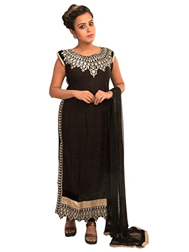 Sharmili Black Latest Designer Straight Embroidered Net Salwar suit for women, Matching Churidar & Dupatta, ( stitched ),L / XL size,Round NeckDaily wear / Party Wear By Zenith Garments  available at amazon for Rs.1895