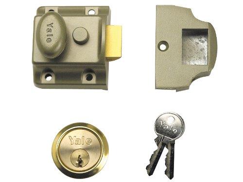 Yale B-723-ENB-PB-40 - Serratura tradizionale stretta con scatola in nichel smaltato e cilindro in ottone lucido, colore: Bronzo