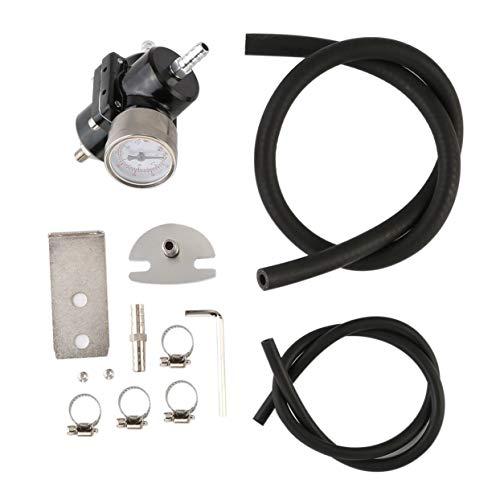 Tree-on-Life Universeller Kraftstoffdruckregler mit einstellbarem 0-140 Psi-Manometer-Schlauchsatz Professioneller Öldruckregler -