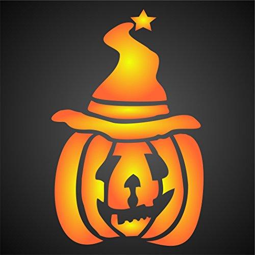Kürbis Schablone-wiederverwendbar Halloween Day Of The Dead Scary Kids Fun Wizard Hat Wand Schablone-Vorlage, auf Papier Projekte Scrapbook Tagebuch Wände Böden Stoff Möbel Glas Holz usw. L (Schablonen Halloween Scary)