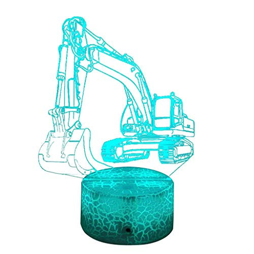 Wawer Bagger Truck 3D Illusion Nachtlampe,7 Farben LED Schreibtisch Tisch Nachtlicht,Batterie Powered für Weltmeisterschaft Kinder Familie Ferienhaus Dekoration Weihnachten Valentinstag (A) - Powered Bagger