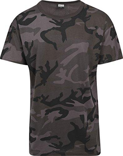 Urban Classics TB1780 Herren Camo Oversized Tee, Kurzarm T-Shirt für Männer IM Angesagten Boxy Cut mit Camouflage All Over Print - Farbe Dark Camo, Größe L (Urban Camouflage T-shirt)