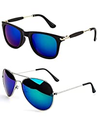 Younky Unisex Combo offer Pack of UV Protected Stylish Wayfarer Sunglasses For Men/Women/Boys & Girls (BigBBlue-BM |52|Blue) - 2 Sunglass Case
