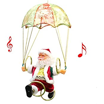 FHD Christmas Santa Claus Figure Suspension Flying Parachute Singing 360 Rotate Electric Toys For Kids XMAS Decorations Funny