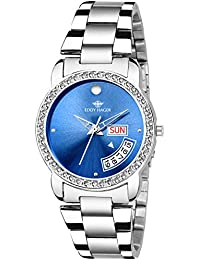 Eddy Hager Blue Day And Date Stone Studded Women's Watch EH-455-BL