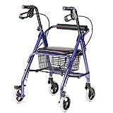 MU Walker Roller Walker 4 Wheel Telaio da Passeggio con Cestello Portaoggetti per L'anziano Travel Shopping Pedal Walking Walker Carrello del Carrello