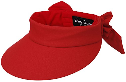 Simplicity Women's SPF 50+ UV Protection Wide Brim Beach Sun Visor Hat,Red - Spf Hat 50