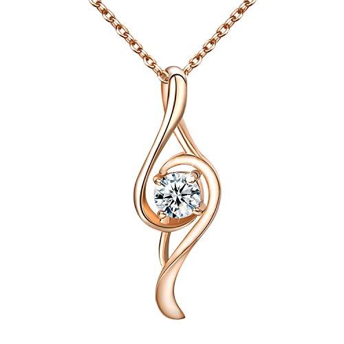 Yoursfs Collier pendentif en Note de musique Or plaqué Solitaire en Cristal pour Femme ou Fille Idée cadeau de Noël Mariage Anniversaire