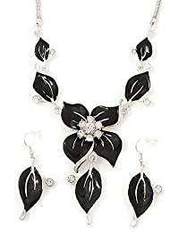 Black Enamel Diamante Floral Necklace & Drop Leaf Earrings Set In Rhodium Plated Metal - 40cm Length/ 7cm extender