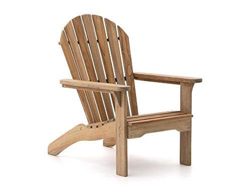 ROUGH Stabile X Adirondack Chair Gartenliege | Teakholz Gartenstuhl | Liegestuhl aus behandeltem Teakholz, für Garten oder Balkon | Wetterfest, pflegeleicht und klassisches Aussehen - Adirondack Liegestuhl
