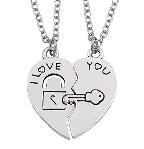 EROSPA® 2 Halsketten mit Herz-Anhänger Schriftzug I Love You und Schlüssel - Damen/Frauen/Mädchen/Girls - Silber