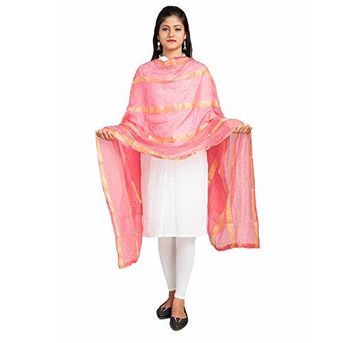 Lodestone Women's Jute Silk Zari Border Dupatta - du-321_Pink_Free Size