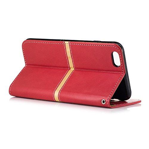 IPhone 6 Plus Housse, Premium PU Leather Horizontal Flip Stand Case Avec Holder & Wallet & Card Slot & Photo Frame Pour Apple IPhone 6 Plus 5.5 Pouces ( Color : Rose Gold , Size : IPhone 6 Plus 5.5 ) Red