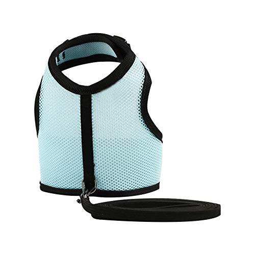 Hilai 1pc Kaninchen-Gurt Leine Kit für Katze Frettchen Meerschweinchen Kleintier Adjustable Häschen-Geschirr mit Leine Blau M