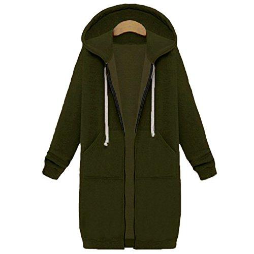 HCIUUI Winter Coats New Women Sweatshirts Coat Casual Pockets Zipper Outerwear Hoodies Jacket Plus Size S-5XL Long Hooded