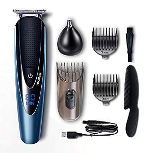Solimpia Bartschneider Bart Trimmer Haarschneidemaschine Herren Haartrimmer Haarschneider Nasentrimmer Bodygroomer Wasserdichter USB Wiederaufladbar Akku 2 In 1