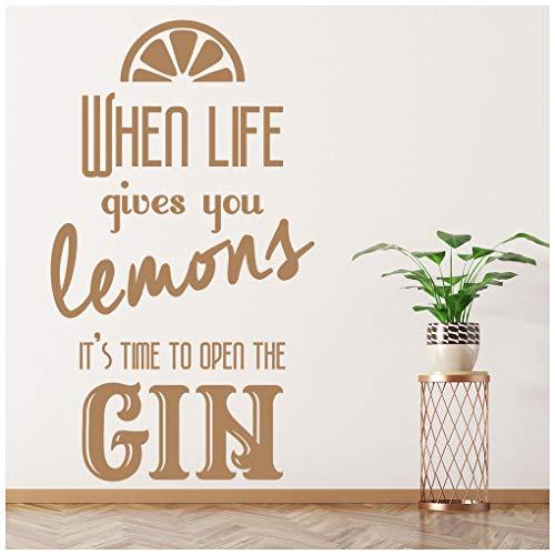 azutura Wenn das Leben dir Zitronen gibt Öffnen Sie den Gin Wandtattoo verfügbar in 5 Größen und 25 Farben Mittel Gold Metallic