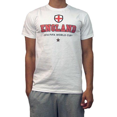 GB Sports FIFA World Cup 2014 T-Shirt aux Couleurs de l'Angleterre pour Homme S, M, L, XL ou XXL Blanc - Blanc