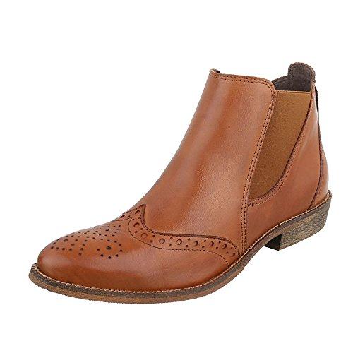 Damen Stiefeletten Schuhe Stretch Chelsea Boots Braun 40 RQEh0P