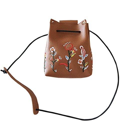 Hunpta Mädchen Frauen Retro weibliche einfache Blumenbeutel Crossbody Schulter Beutel Handtasche Braun