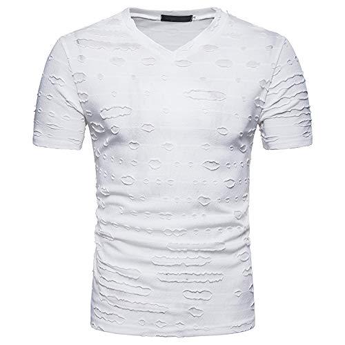REALIKE Herren Kurzarmshirt Essential Basic V-Ausschnitt Loch Einfarbig Tops Classics Casual Loose Fit T-Shirt Oberteil Männer Frühling Sommer Bequem Baumwolle Atmungsaktiv Sweatshirt Blusen -