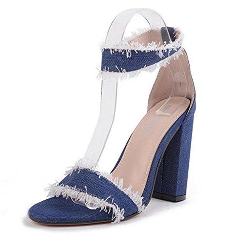 Damen Sommer High Heel Sandalen,Frauen Stiletto Clinch Schraube Höhle aus High Heels Sommer Fisch Mund Suede Court Schuhe, Blue, 38 -
