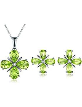 JiangXin Schmuck Set Lucky clover Glücksbringer Blumen Luxus Elegant Natürliche Grün Peridot Olivin Damen Ohrring...