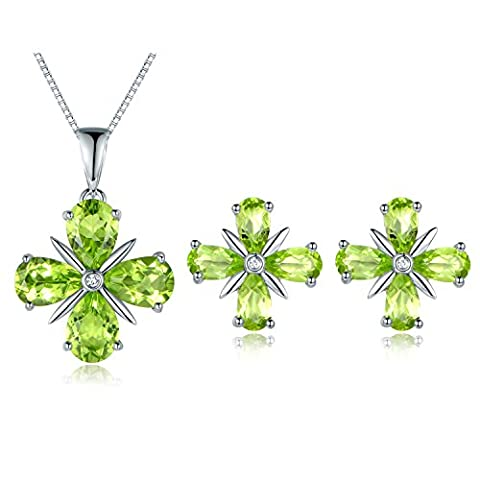 JiangXin Lucky Four Leaf Clover Eternity Natural Peridot Green Gemstone Jewellery Set,925 Sterling Silver Earring Stud Pendant Necklace for Women,Valentine Appointment Gift,August Birthstone