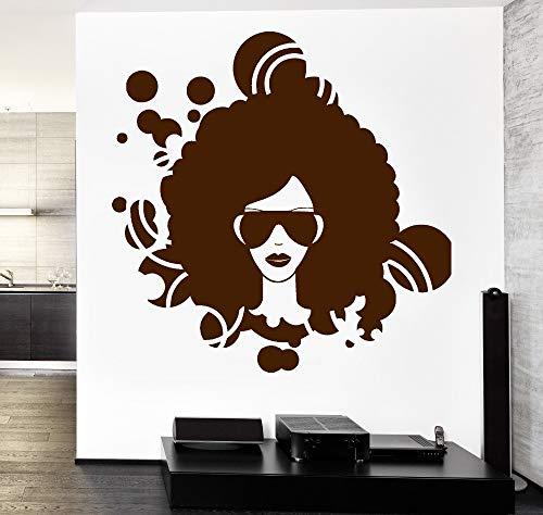 Wand Vinyl Aufkleber Wohnkultur Wohnzimmer Sofa Hintergrundmusik Schwarz Afro American Girl Disco Garantierte Qualität Aufkleber Z 57x58 cm (Ihr Körper American Girl)