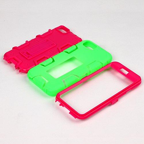 iPhone 6 / 6s Hülle, FindaGift 3 in 1 Hybride Handycover Hartschale Cover Roboter Guard Schutzhülle Innere PC Case Weich Silikon Back Rüstung Ganzkörper-Schutz [Bruchsicher] [Anti-Rutsch] Handytasche  Smaragdgrün + Pink