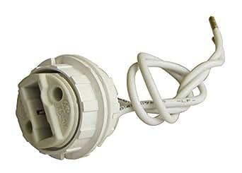 Tibelec 854710 Douille Halogène Filetée + 2 Bagues pour Ampoule à Culot G9 Blanc